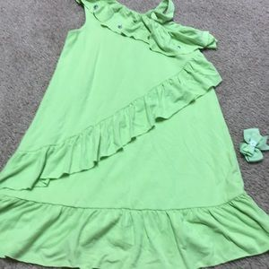 Girls new green dress with beads size 6 Gymboree